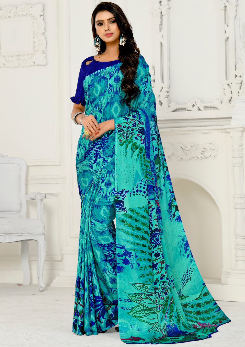 Aqua Blue Color Crepe Home Wear Sarees NYF-8742