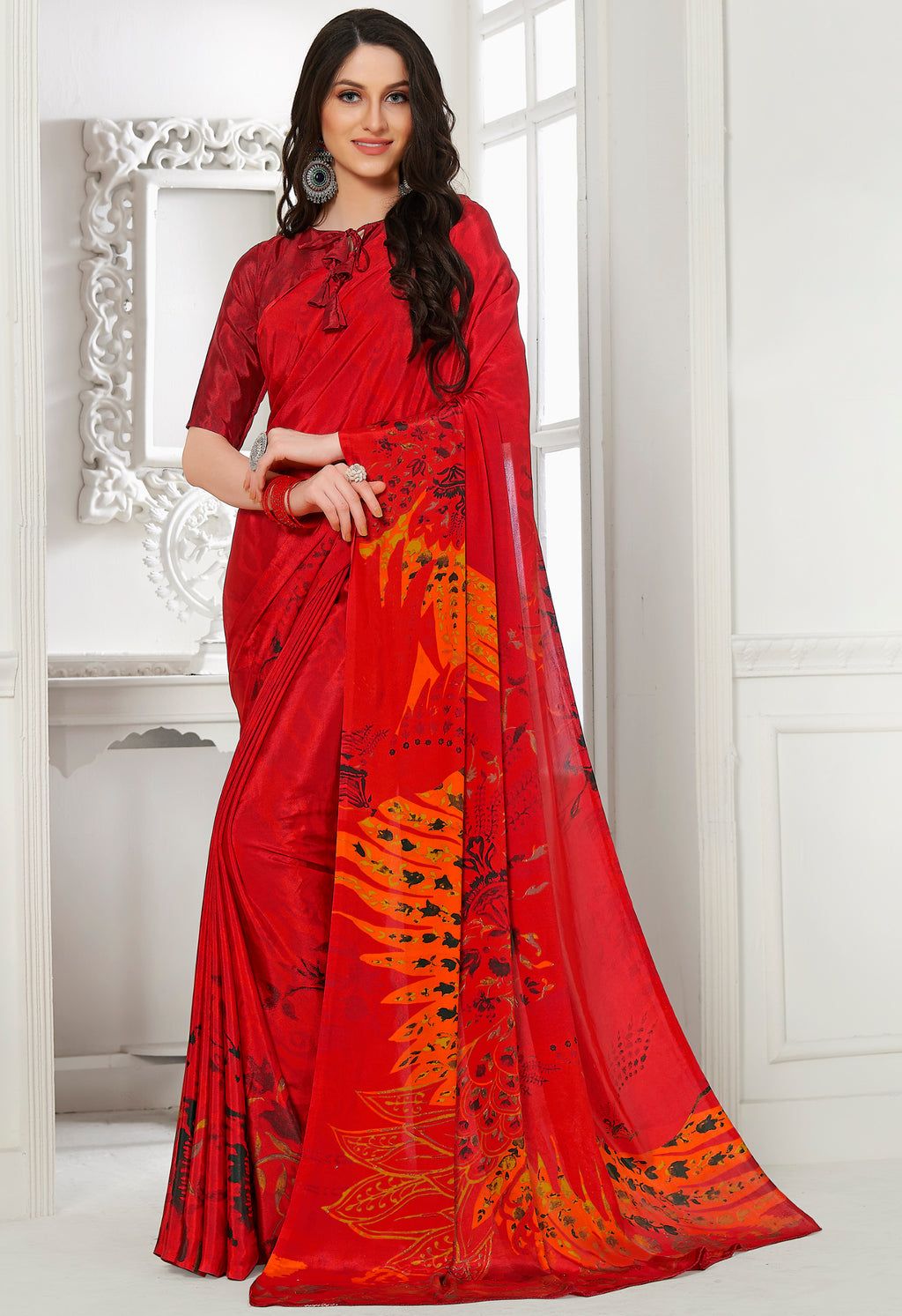 Sindoori Color Crepe Home Wear Sarees NYF-8743