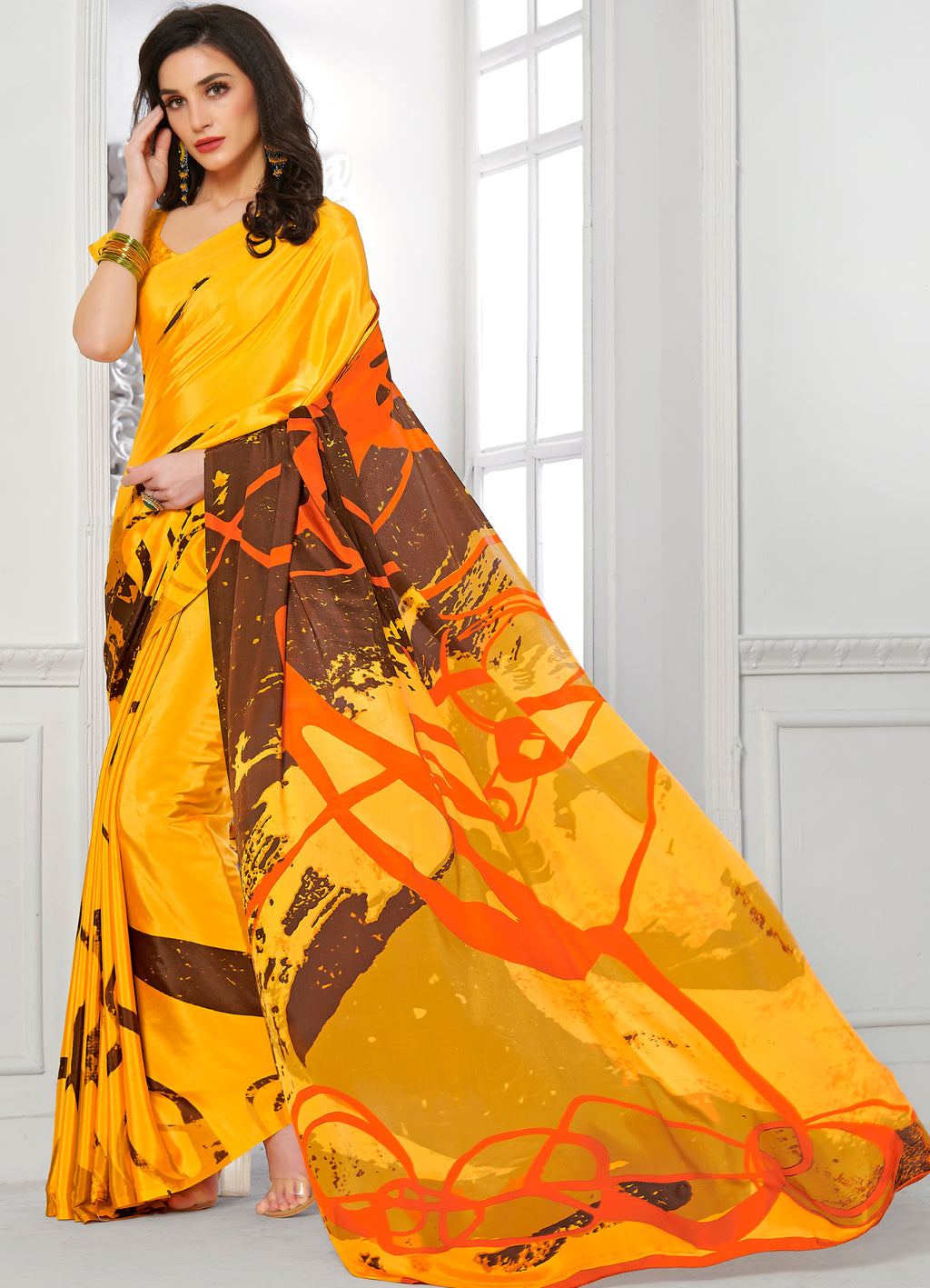Yellow Color Crepe Home Wear Sarees NYF-8744