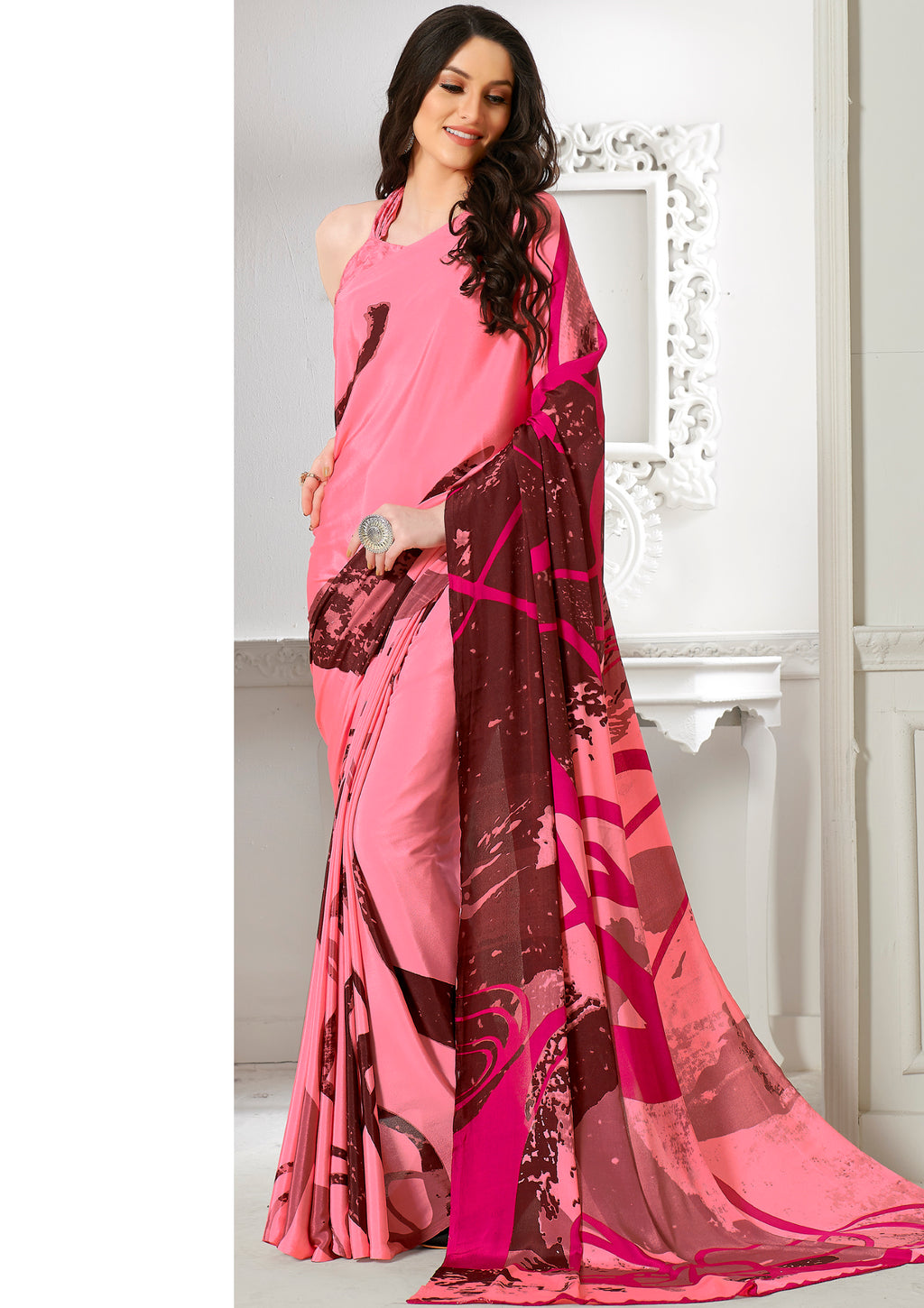 Pink Color Crepe Home Wear Sarees NYF-8745