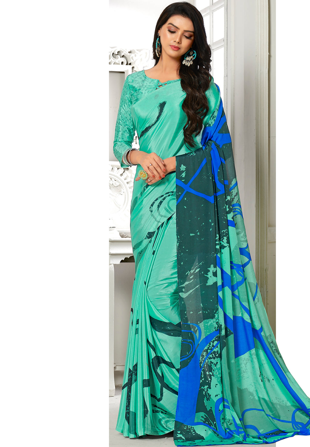 Aqua Green Color Crepe Home Wear Sarees NYF-8746