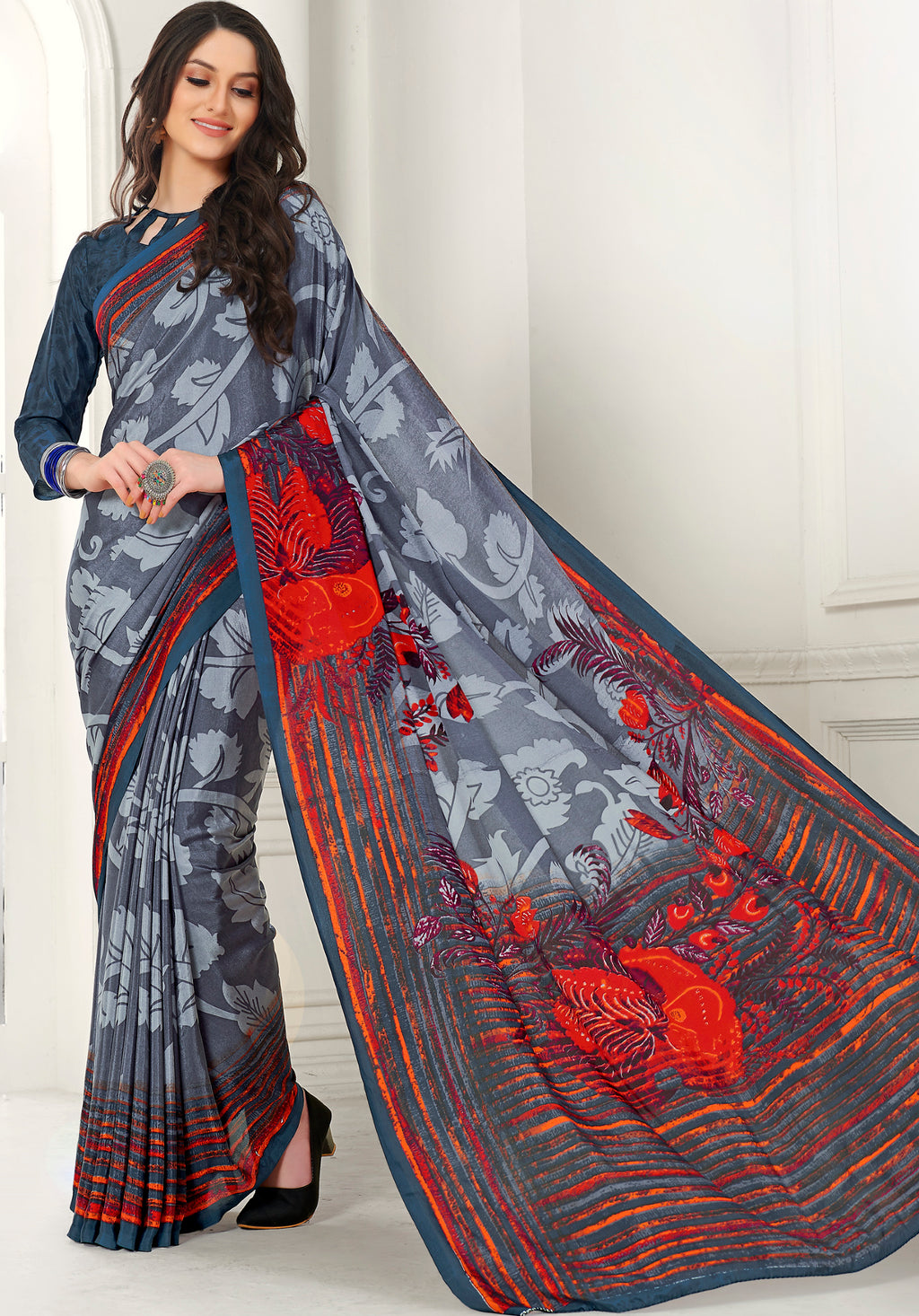 Grey Color Crepe Home Wear Sarees NYF-8747
