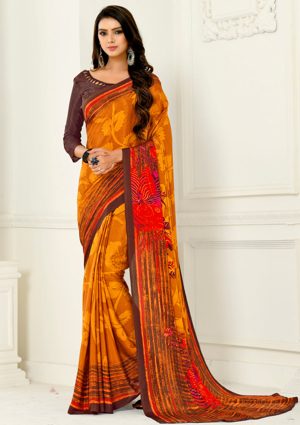 Yellow & Orange Color Crepe Home Wear Sarees NYF-8748