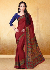 Maroon Color Crepe Uniform Sarees : Varnika Collection  YF-50499