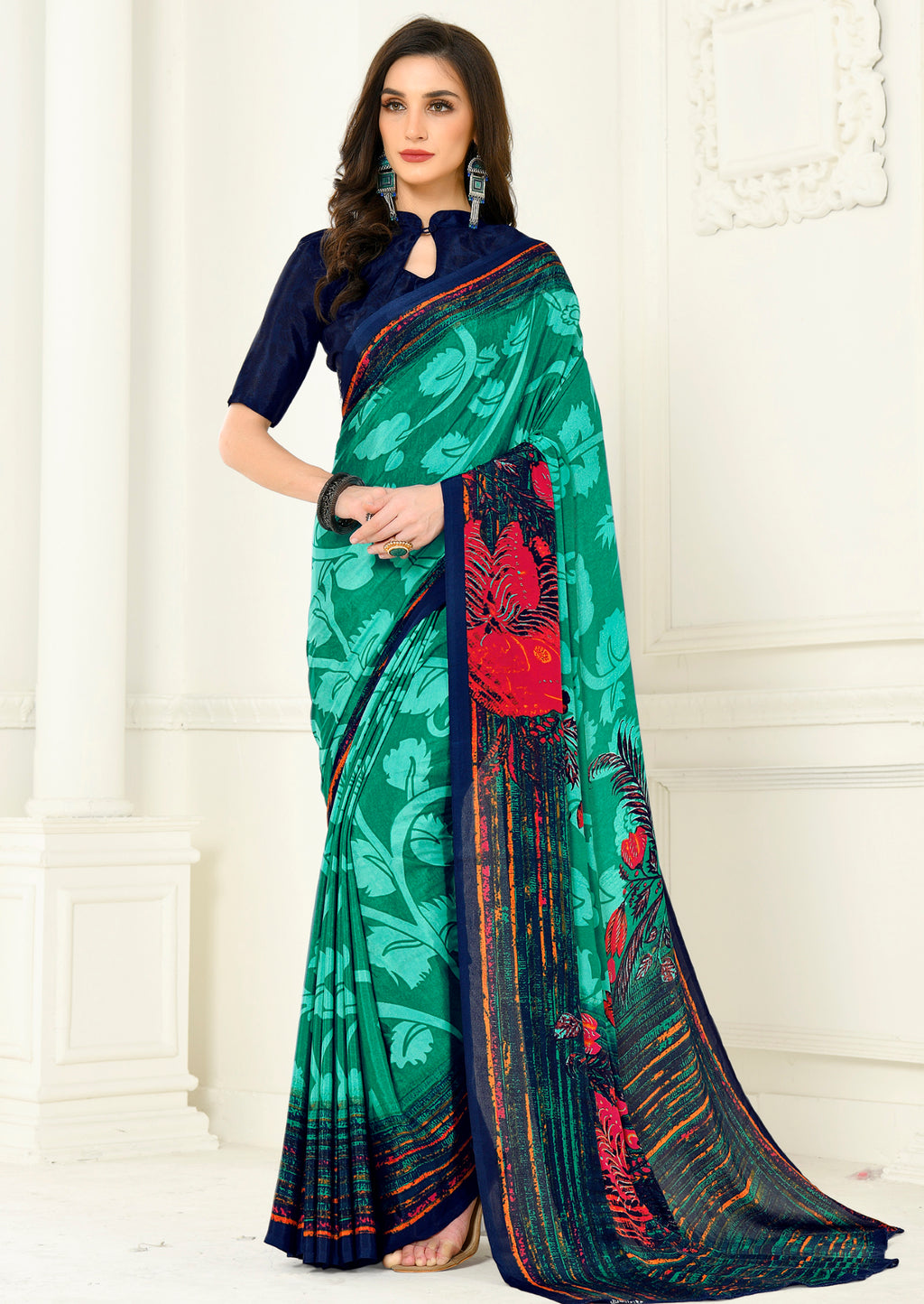 Sea Green Color Crepe Home Wear Sarees NYF-8749