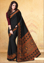 Black Color Crepe Uniform Sarees : Varnika Collection  YF-50500