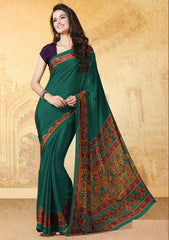 Green Color Crepe Uniform Sarees : Varnika Collection  YF-50501