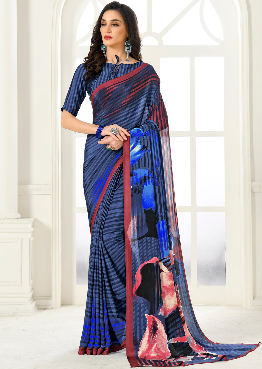 Blue Color Crepe Home Wear Sarees NYF-8751
