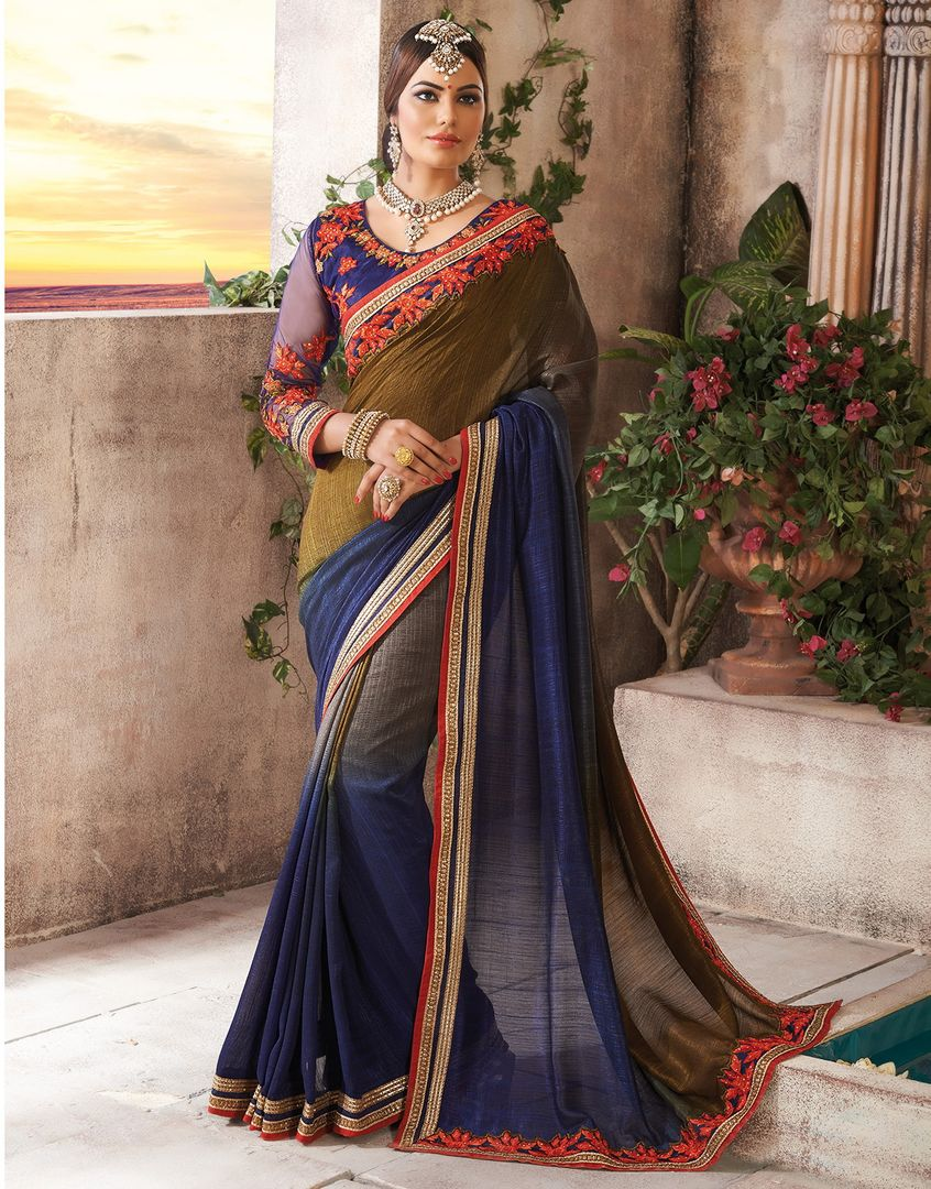 Blue Color Chiffon Party Wear Sarees : Pinati Collection  NYF-3351 - YellowFashion.in
