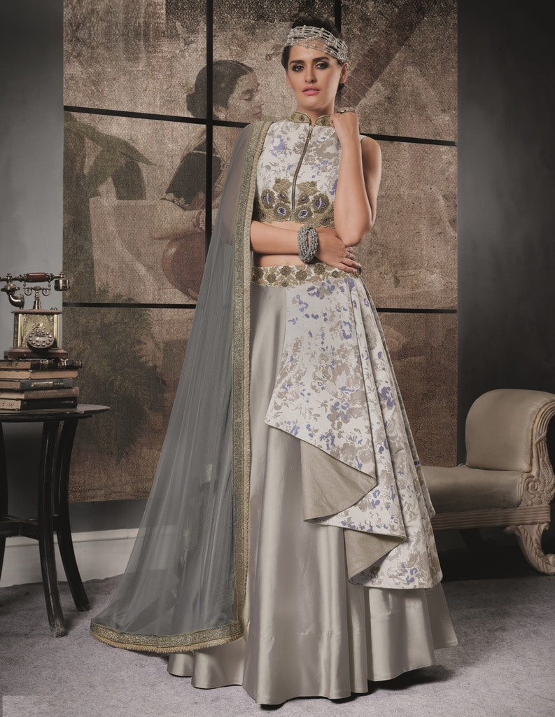 Grey Color Jacquard & Taffeta Silk Lehenga For Wedding Functions : Nasima Collection  NYF-1837 - YellowFashion.in