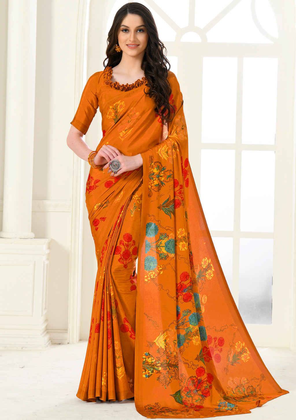 Orange Color Crepe Home Wear Sarees NYF-8752