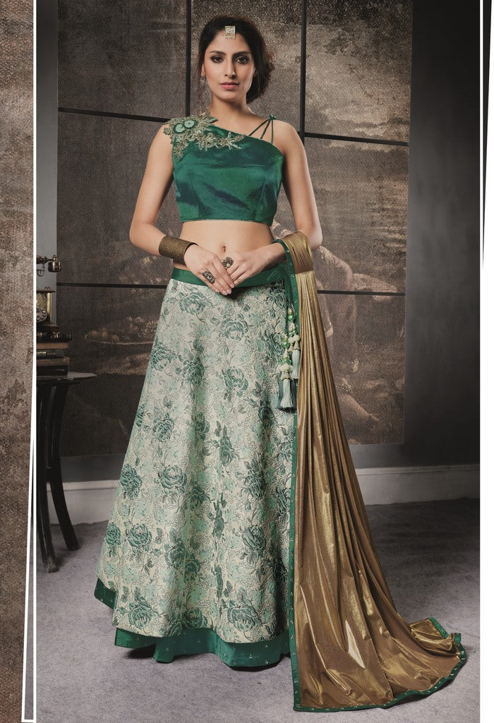Green Color Jacquard & Taffeta Silk Lehenga For Wedding Functions : Nasima Collection  NYF-1838 - YellowFashion.in