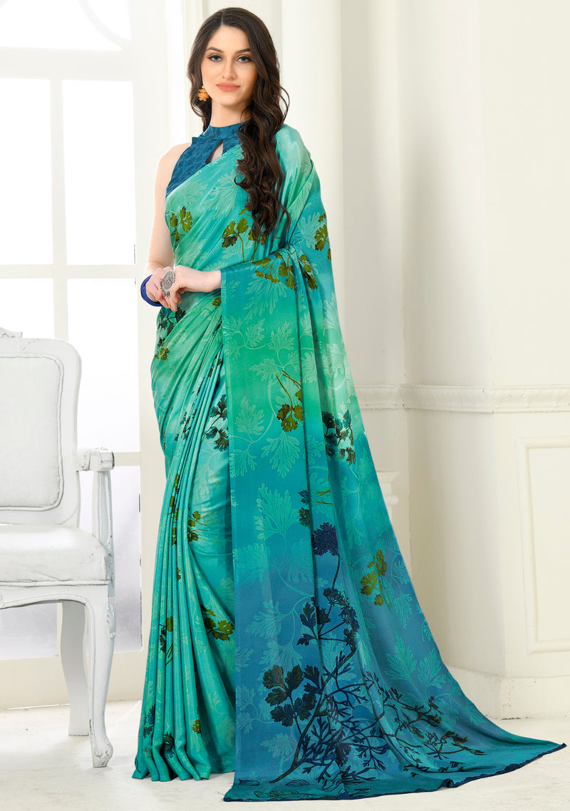 Sea Green Color Crepe Home Wear Sarees NYF-8754
