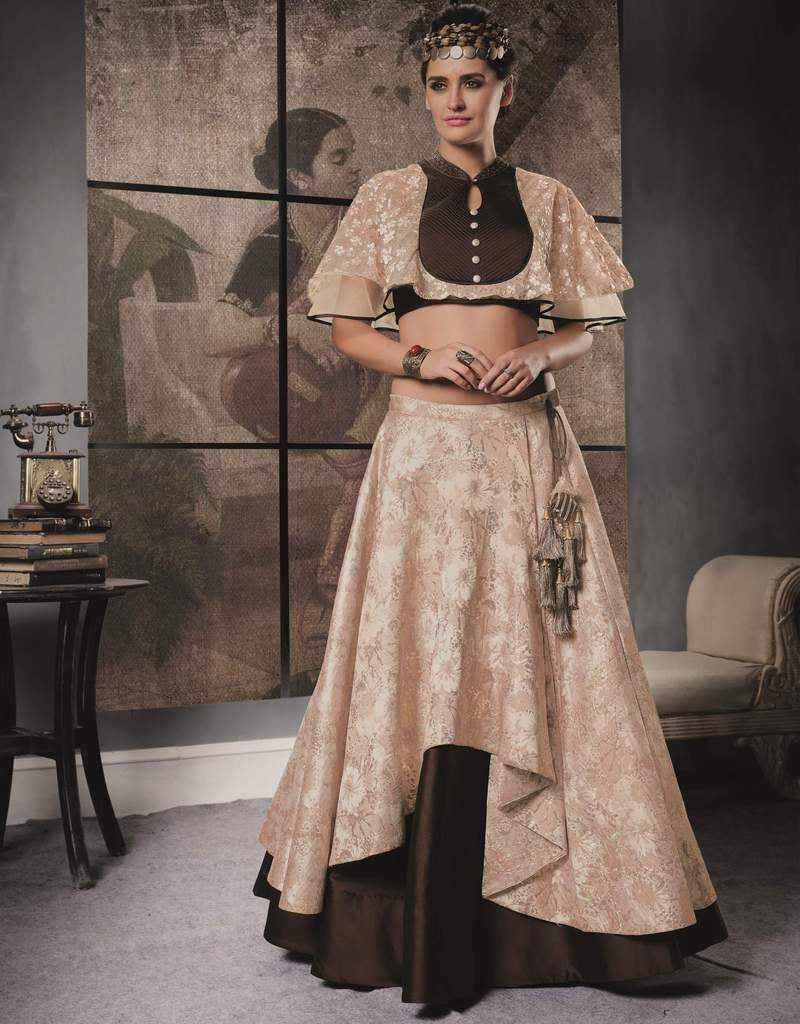 Beige & Brown Color Two Tone Taffeta Silk & Jacquard Silk Lehenga For Wedding Functions : Nasima Collection  NYF-1840 - YellowFashion.in