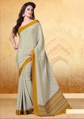 Cream & Yellow Color Crepe Uniform Sarees : Varnika Collection  YF-50502