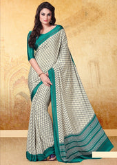 Cream & Rama Green Color Crepe Uniform Sarees : Varnika Collection  YF-50503