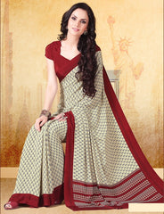 Cream & Maroon Color Crepe Uniform Sarees : Varnika Collection  YF-50504