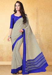 Cream & Blue Color Crepe Uniform Sarees : Varnika Collection  YF-50505