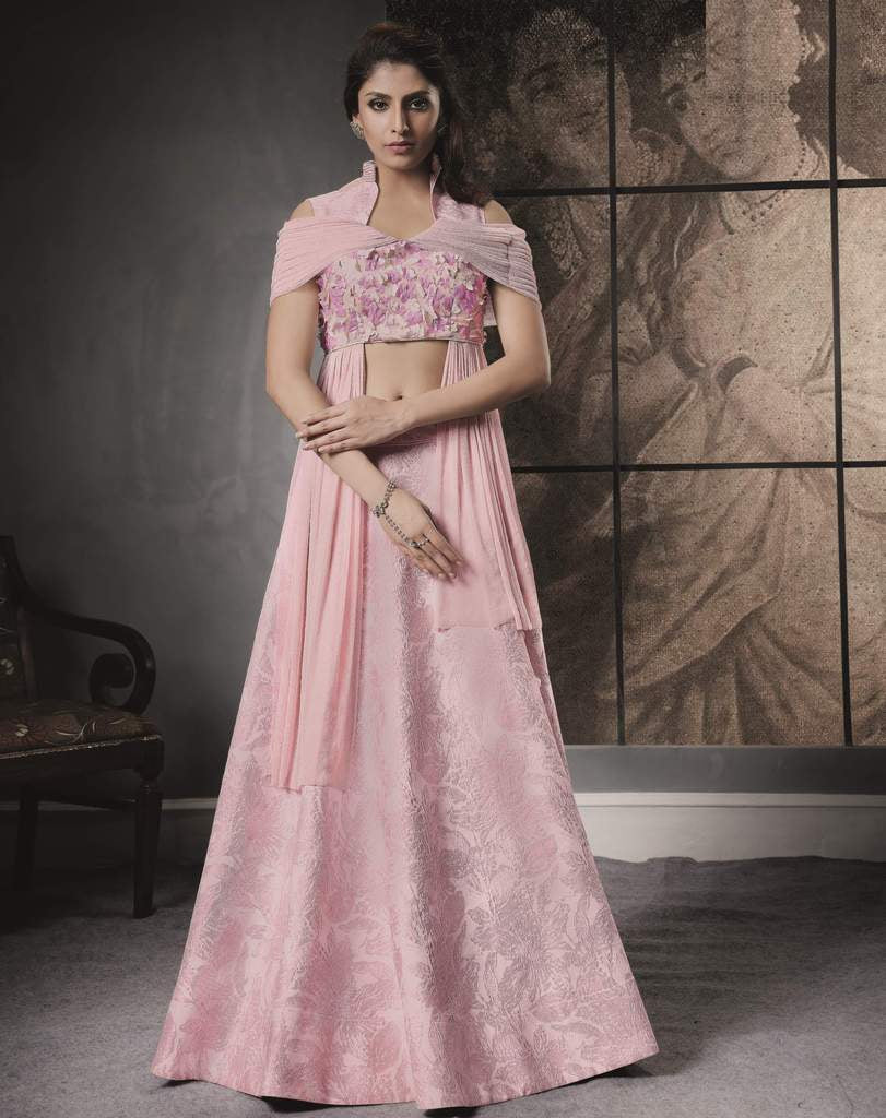 Pink Color Jacquard Silk Lehenga For Wedding Functions : Nasima Collection  NYF-1842 - YellowFashion.in