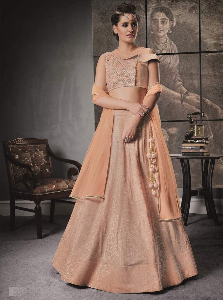 Peach Color Embossed Lycra Lehenga For Wedding Functions : Nasima Collection  NYF-1843 - YellowFashion.in