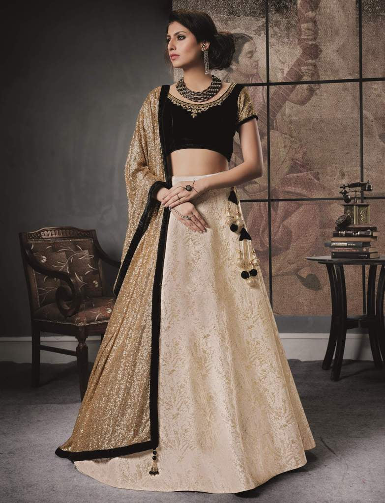 Off white Color Jacquard Silk Lehenga For Wedding Functions : Nasima Collection  NYF-1844 - YellowFashion.in