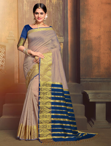 Shades Of Lavender Color Blended Cotton Festival & Function Wear Sarees : Tiyash Collection YF-67690