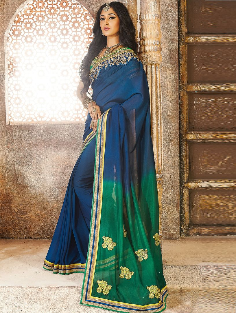 Blue & Green Color Georgette Crepe Party Wear Sarees : Pinati Collection  NYF-3352 - YellowFashion.in