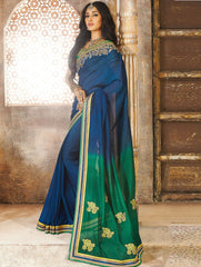 Blue & Green Color Georgette Crepe Party Wear Sarees : Pinati Collection  NYF-3352
