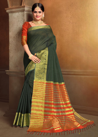 Green Color Blended Cotton Festival & Function Wear Sarees : Tiyash Collection YF-67692