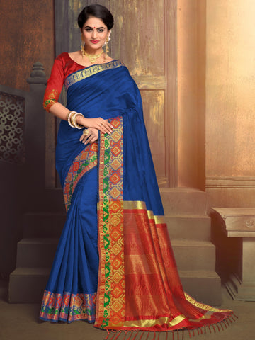 Blue Color Blended Cotton Festival & Function Wear Sarees : Tiyash Collection YF-67693