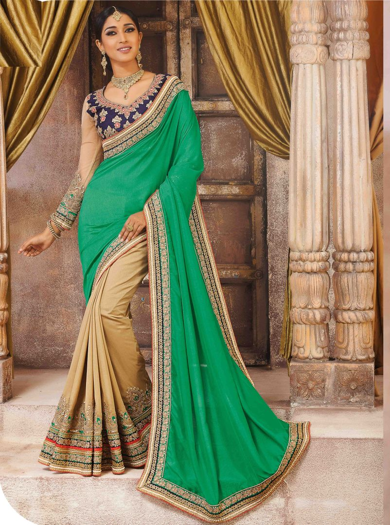 Green & Light Coffee Color Silk Party Wear Sarees : Pinati Collection  NYF-3353 - YellowFashion.in