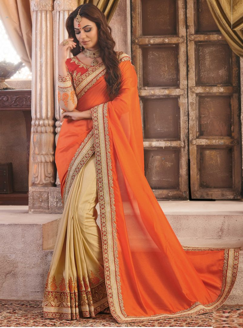 Orange & Light Coffee Color Silk Party Wear Sarees : Pinati Collection  NYF-3354 - YellowFashion.in