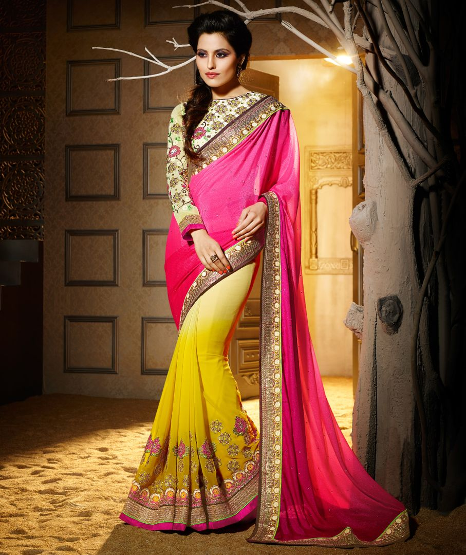 Pink & Yellow Color Chiffon Designer Wedding Wear Sarees : Jasmit Collection  NYF-2856 - YellowFashion.in