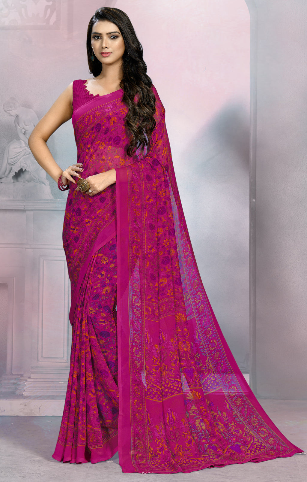 Rani Pink Color Georgette Daily Wear Sarees NYF-8518