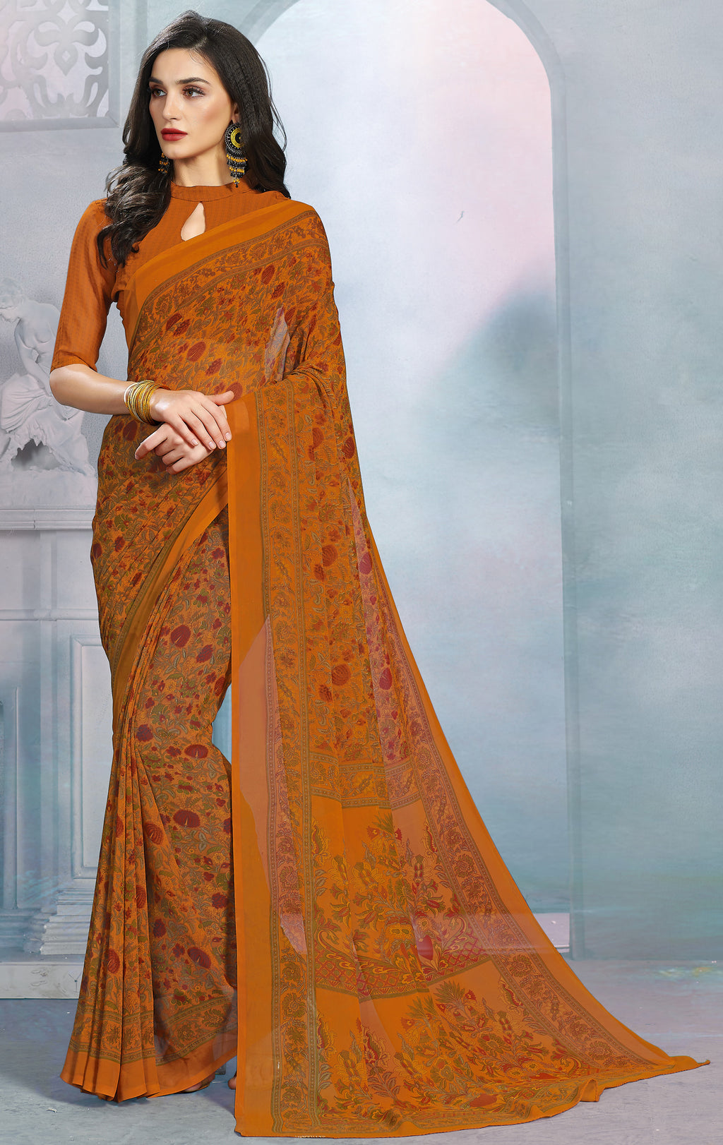Mustard Yellow Color Georgette Daily Wear Sarees NYF-8520