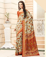 Cream & Brown Color Crepe Office Wear Sarees : Namrahi Collection  YF-50396