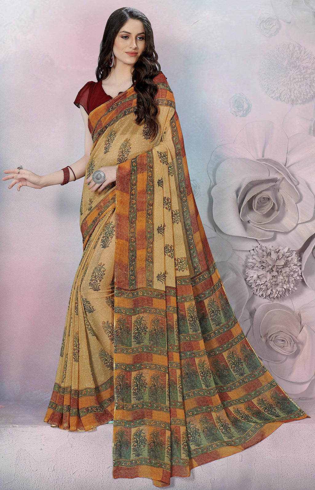 Beige Color Georgette Daily Wear Sarees NYF-8521