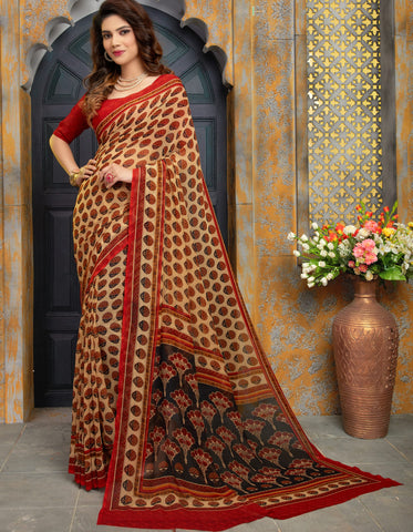 Light Coffee Color Georgette Kitty Party Sarees : Sarasvi Collection YF-70594