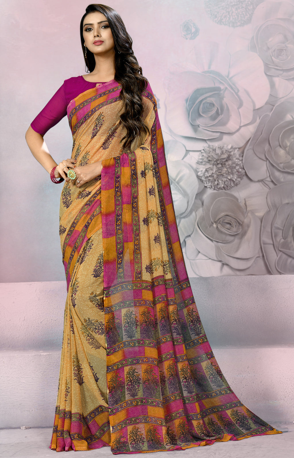 Beige & Pink Color Georgette Daily Wear Sarees NYF-8522