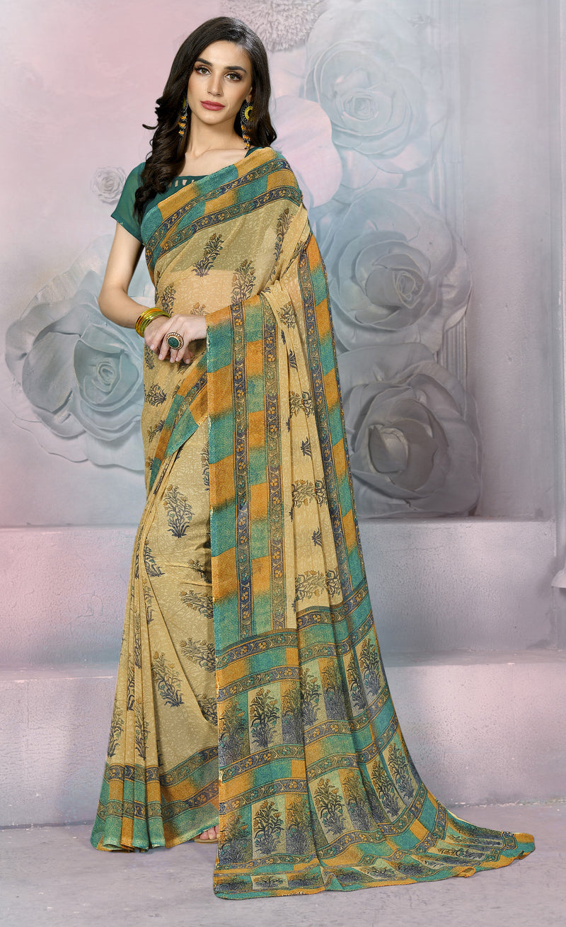 Beige & Green Color Georgette Daily Wear Sarees NYF-8523
