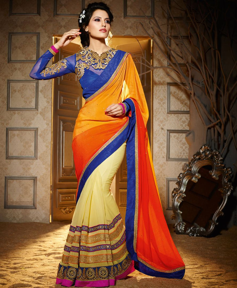 Cream, Orange & Yellow Color Chiffon Designer Wedding Wear Sarees : Jasmit Collection  NYF-2851 - YellowFashion.in