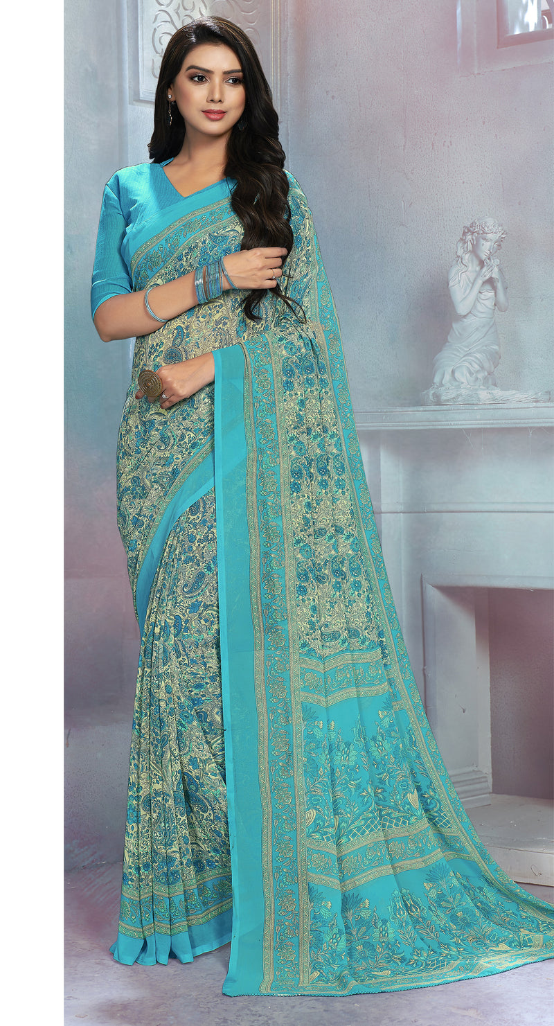 Sky Blue & Cream Color Georgette Daily Wear Sarees NYF-8524