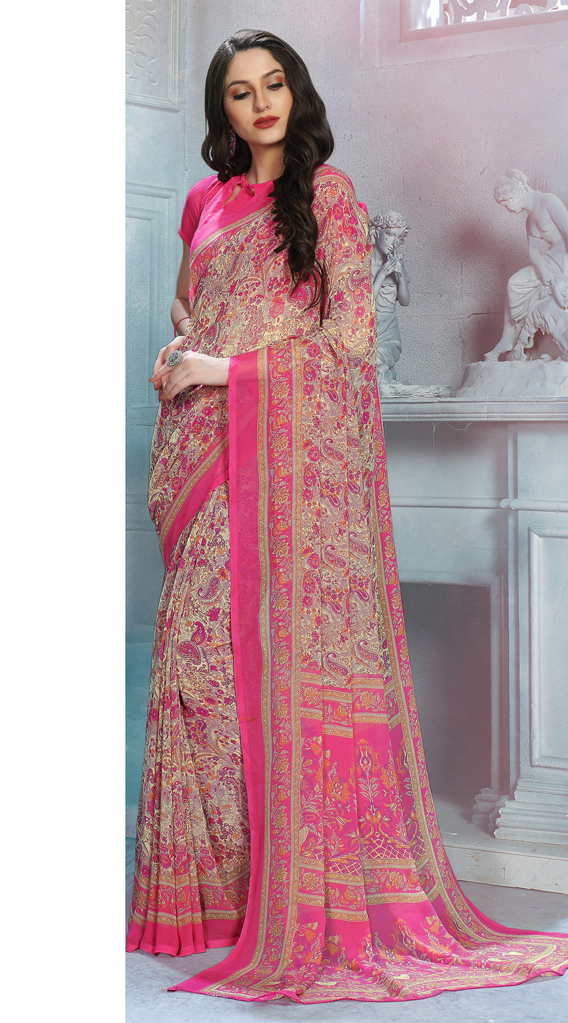 Cream & Pink Color Georgette Daily Wear Sarees NYF-8525