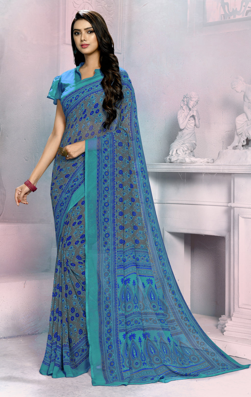 Blue Color Georgette Daily Wear Sarees NYF-8527