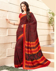 Black & Red Color Crepe Office Wear Sarees : Namrahi Collection  YF-50406