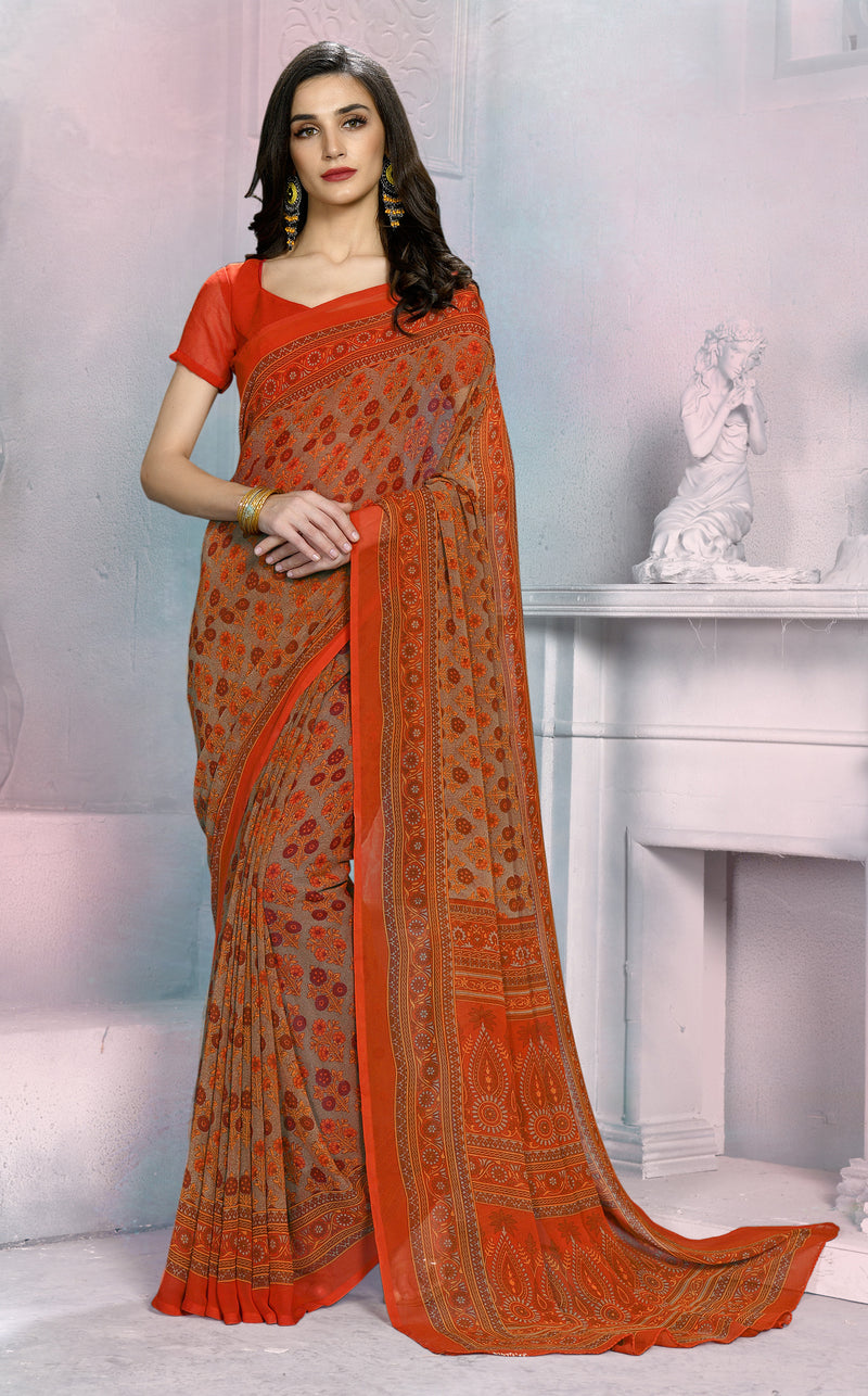 Orange Color Georgette Daily Wear Sarees NYF-8528