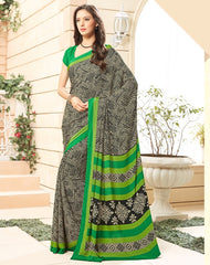 Black & Green Color Crepe Office Wear Sarees : Namrahi Collection  YF-50407