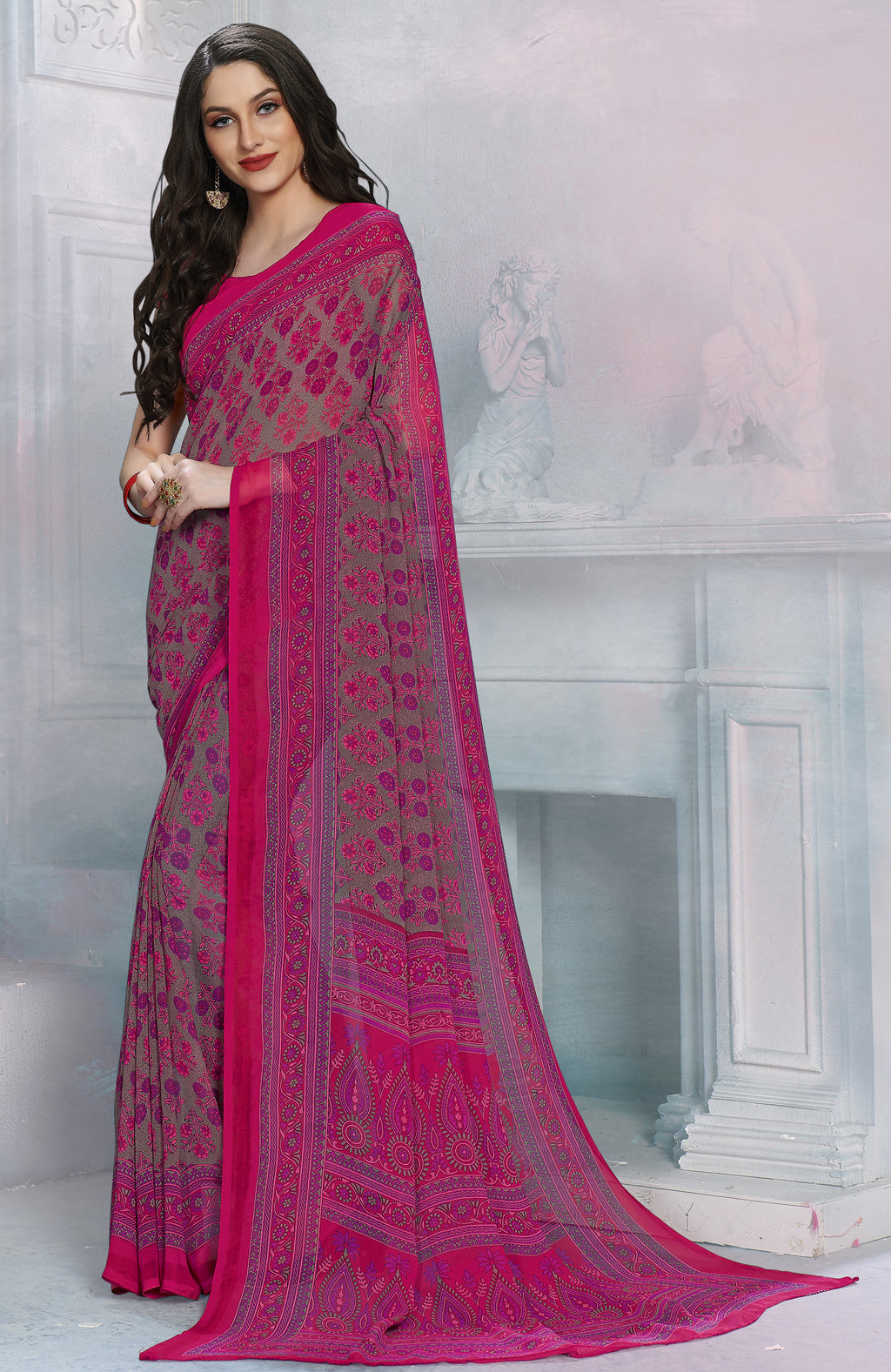 Pink Color Georgette Daily Wear Sarees NYF-8529