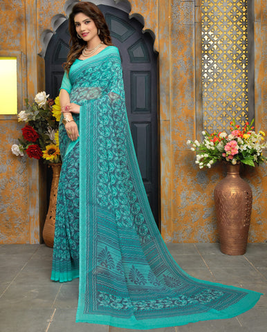 Sea Green Color Georgette Kitty Party Sarees : Sarasvi Collection YF-70596
