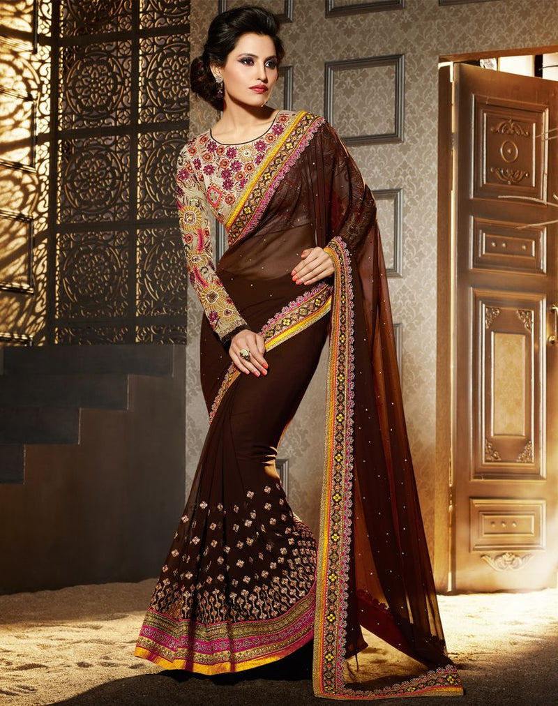 Brown Color Chiffon Designer Wedding Wear Sarees : Jasmit Collection  NYF-2852 - YellowFashion.in